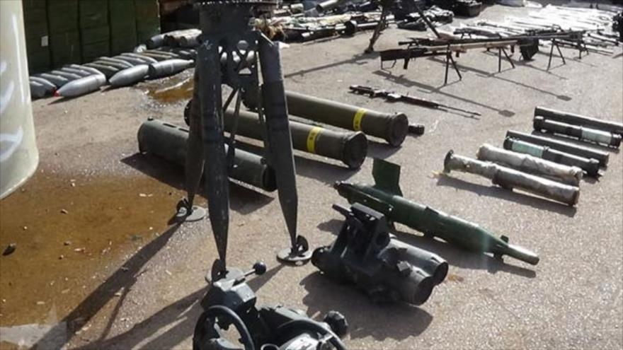 Armas confiscadas por el Ejército sirio en el campo occidental de Daraa, en el suroeste del país, 18 de noviembre de 2018. (Fuente: SANA)