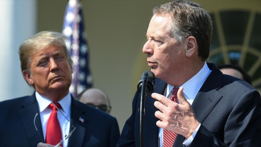 El representante de Comercio de EE.UU., Robert Lighthizer (dcha.), y el presidente Donald Trump, Casa Blanca, 1 de octubre de 2018. (Foto:AFP)