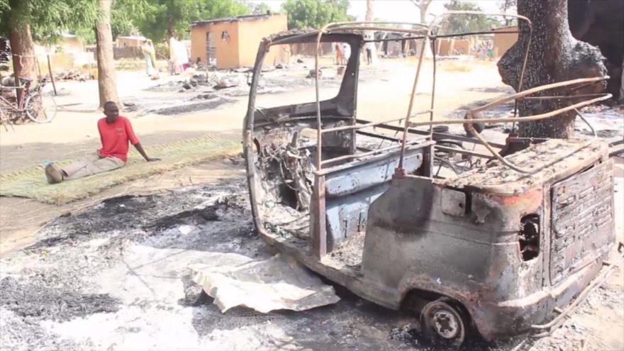 La escena de un ataque terrorista del grupo terrorista Boko Haram en el estado de Borno (noreste) de Nigeria, 20 de noviembre de 2018. (Foto: AFP)