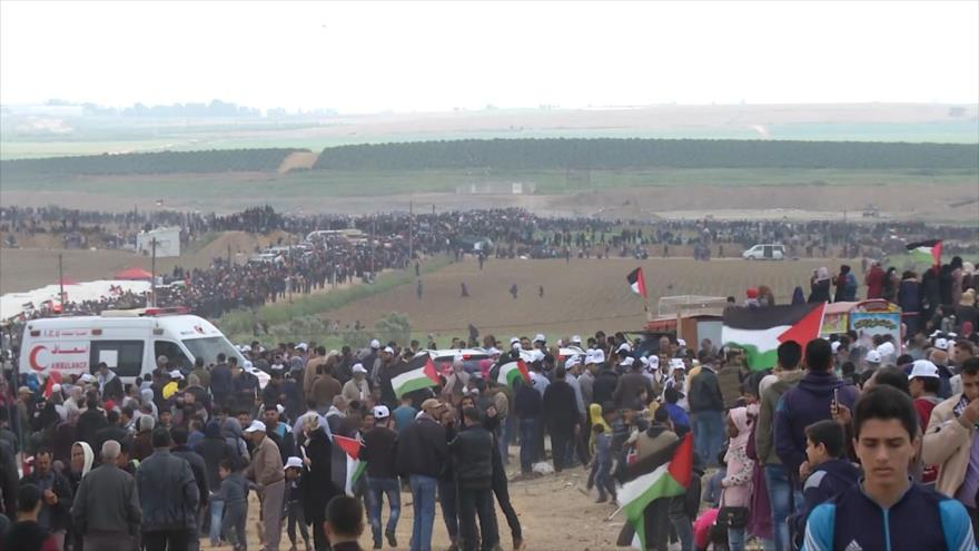Gazatíes marchan contra ocupación israelí