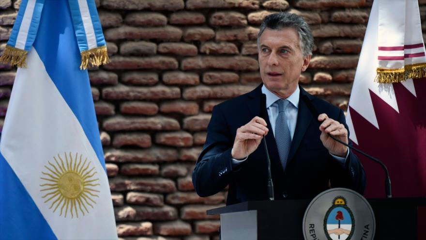 El presidente de Argentina, Mauricio Macri, ofrece una rueda de prensa en Buenos Aires, capital, 5 de octubre de 2018. (Foto: AFP)