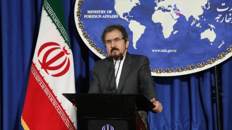 El portavoz de la Cancillería de Irán, Bahram Qasemi, ofrece una rueda de prensa en Teherán, capital iraní.