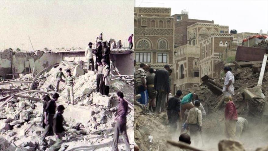 Parte de la ciudad iraní de Andimeshk destruida por ataques iraquíes en 1986 (izq.) y un edificio yemení arruinado por un ataque saudí en 2018 (dcha.).