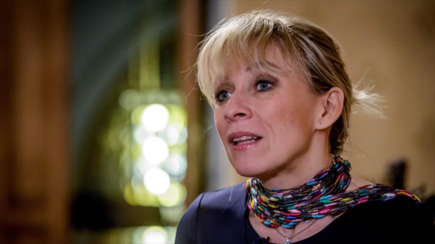 La portavoz de la Cancillería de Rusia, Maria Zajarova, en una entrevista con la agencia francesa AFP en Moscú, Rusia, 16 de enero de 2018. (Foto: AFP)
