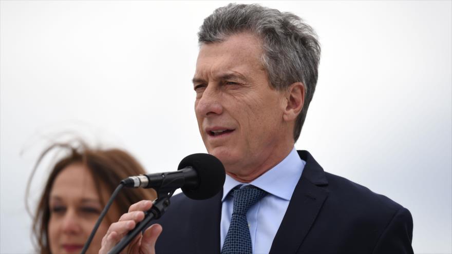 El presidente de Argentina, Mauricio Macri, habla durante un acto en Bogotá, capital colombiana, 7 de agosto de 2018. (Foto: AFP)