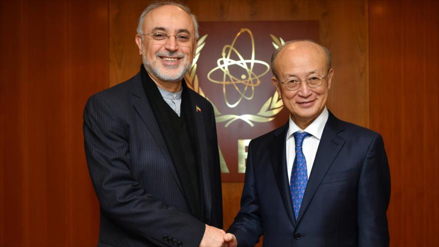 El director de la Organización de Energía Atómica de Irán, Ali Akbar Salehi (izq.), y Yukiya Amano, Viena, 28 de noviembre de 2018. (Foto: iaea.org)