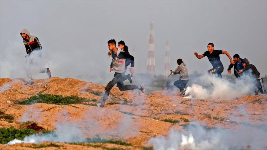 Represión israelí de marchas palestinas deja 28 heridos en Gaza