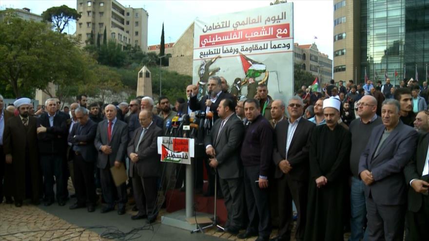 Libaneses y palestinos se solidarizan con la Resistencia en Beirut