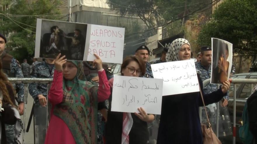 Protestan en El Líbano contra crímenes de Arabia Saudí en Yemen
