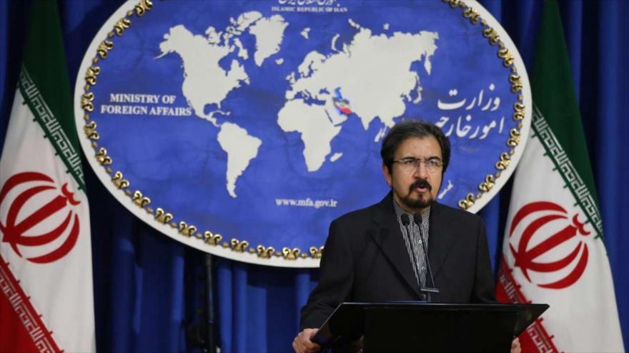 El portavoz de la Cancillería iraní, Bahram Qasemi, en una conferencia de prensa en Teherán (capital), 3 de diciembre de 2018. (Foto: IRNA)