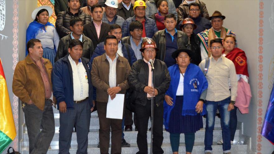 Rueda de prensa del Pueblo de representantes del Consejo Nacional para el Cambio (CONALCAM) tras reunirse con el presidente Evo Morales, 4 de diciembre de 2018. (Foto: ABI)