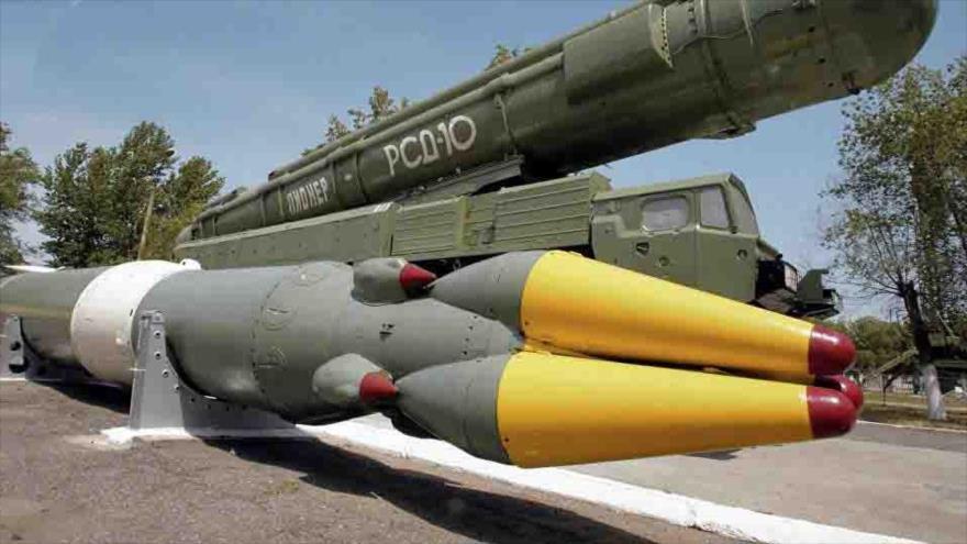 Una plataforma de lanzamiento de misiles de medio alcance de Rusia.