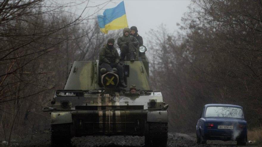Soldados del Ejército de Ucrania desplegados cerca de Donetsk.