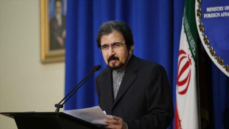El portavoz de la Cancillería iraní, Bahram Qasemi, ofrece una rueda de prensa en Teherán (capital), 3 de diciembre de 2018. (Foto: IRNA)