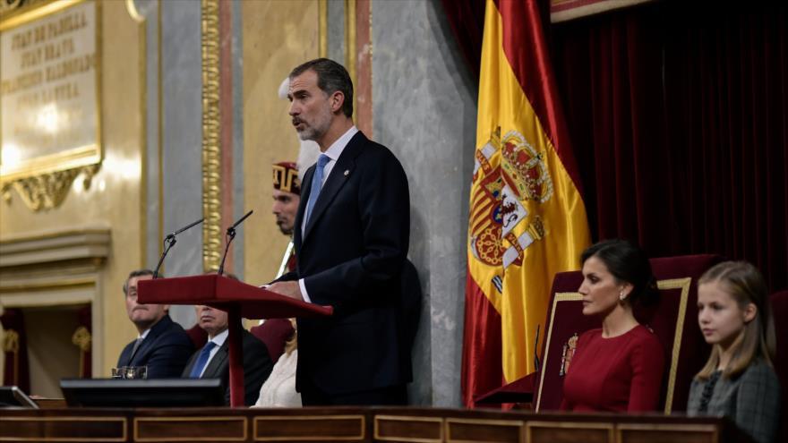 Rey Felipe VI de España, pronuncia su discurso ante el Congreso, Madrid, capital española, 6 de diciembre de 2018. (Foto: AFP)