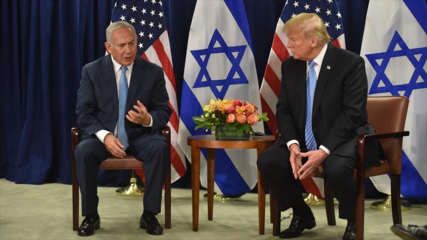 El presidente de EE.UU., Donald Trump (dcha.), y el premier israelí, Benjamín Netanyahu, en Nueva York, 26 de septiembre de 2018. (Foto: AFP)