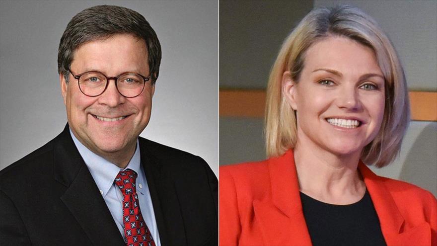 William Barr, exfiscal general de EE.UU. (izda,), y Heather Nauert, portavoz del Departamento de Estado.