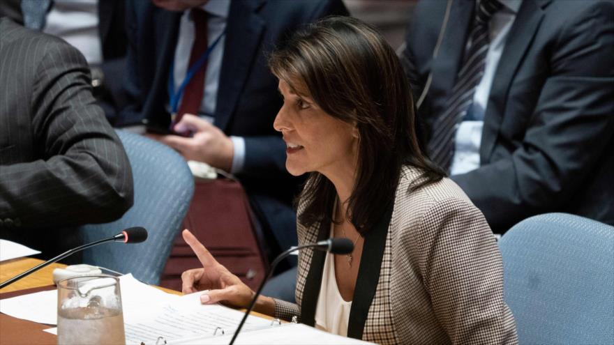 La saliente embajadora de EE.UU. ante la ONU, Nikki Haley, en una sesión del Consejo de Seguridad, Nueva York, 26 de noviembre de 2018. (Foto: AFP)