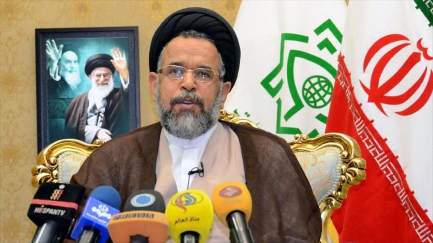 El ministro de Inteligencia de Irán, Mahmud Alavi, ofrece una rueda de prensa desde Teherán.