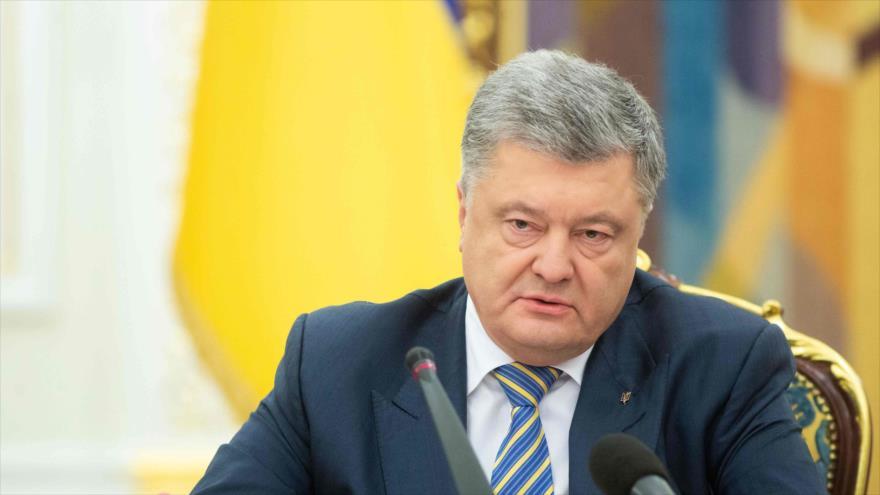 El presidente de Ucrania, Petro Poroshenko, en una sesión del Consejo de Seguridad y Defensa de Ucrania, Kiev, 25 de noviembre de 2018. (Foto: AFP)