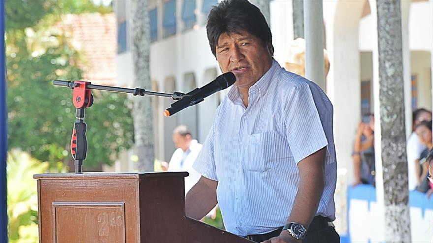 El presidente boliviano, Evo Morales, asiste a una ceremonia en el Colegio Militar de Aviación en Santa Cruz, 8 de diciembre de 2018. (Foto: ABI)