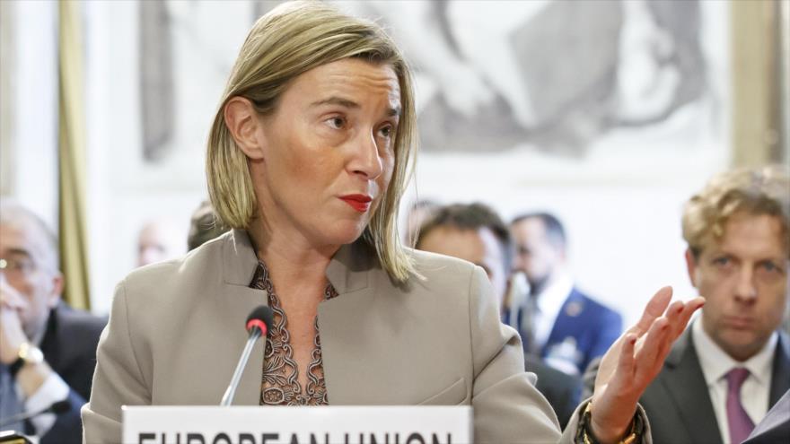 La jefa de la Diplomacia europea, Federica Mogherini, ofrece un discurso en una conferencia de la ONU en Ginebra (Suiza), 28 de noviembre de 2018. (Fuente: AFP)