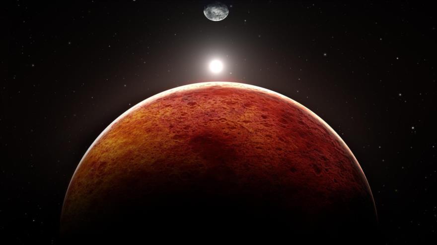 Representación gráfica de los planetas Marte y Tierra, y el Sol.