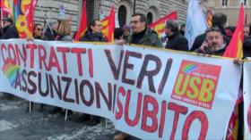 Funcionarios públicos de Italia rechazan precariedad laboral