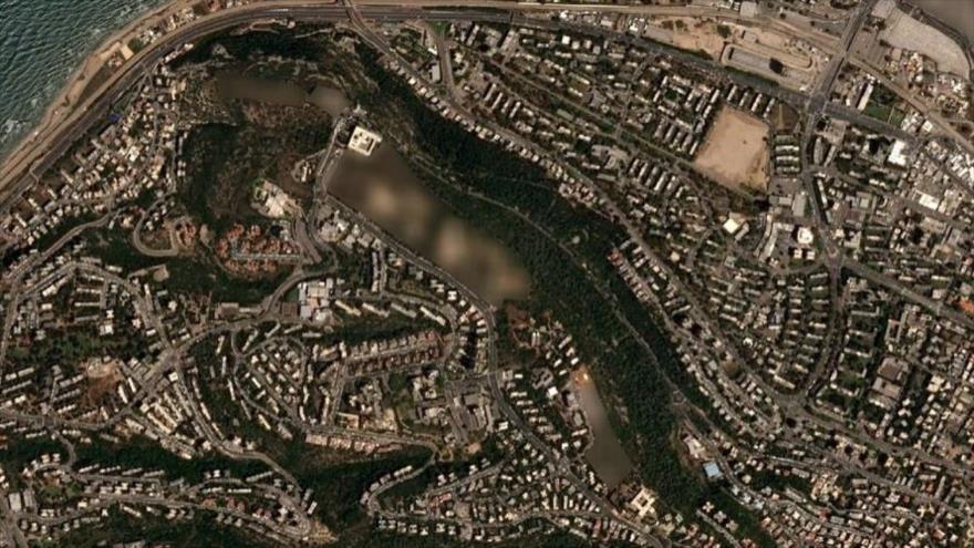 Imagen satelital muestra un sitio borroso de batería antiaérea Patriota en el Monte Carmelo en Haifa, en los territorios palestinos ocupados.