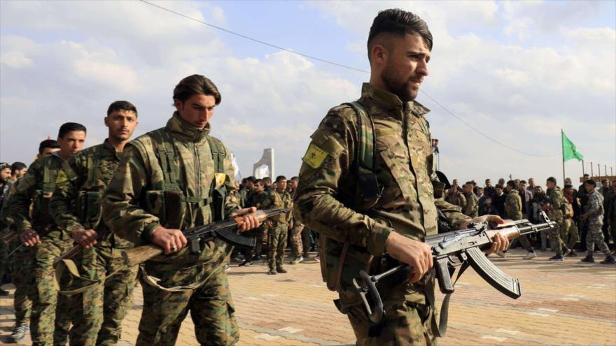 Integrantes de las llamadas Fuerzas Democráticas Sirias (FDS) en Siria.