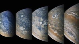 NASA desvela increíbles imágenes de tormentas polares en Júpiter