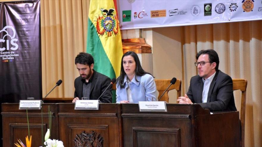 La directora general ejecutiva de la Agencia Boliviana de Energía Nuclear (ABEN), Hortensia Jiménez, en una reunión en La Paz, 20 de septiembre de 2018.