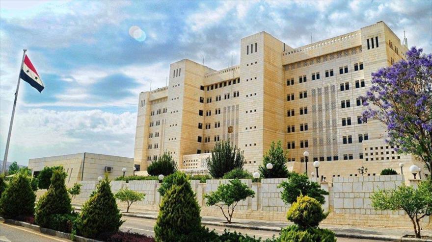Fachada del edificio del Ministerio de Exteriores de Siria, en Damasco, la capital.