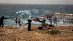 Choques entre palestinos y fuerzas israelíes durante una protesta