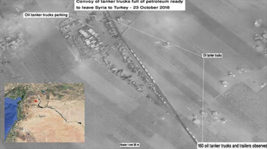 Imagen satelital muestra camiones cisterna de terroristas que se preparan para abandonar Siria.
