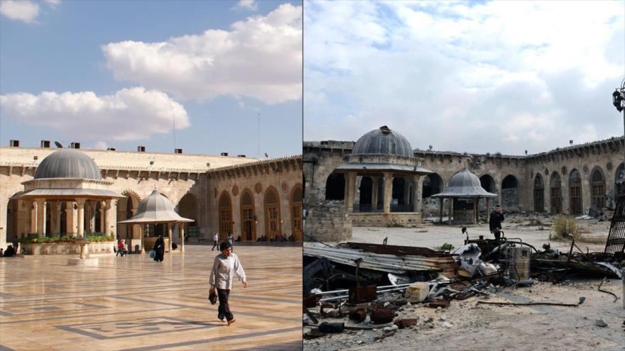 La mezquita de Alepo en Siria antes de que fuera dañada (izda.), 6 de octubre de 2010, y después de la guerra (dcha.), 17 de diciembre de 2016.