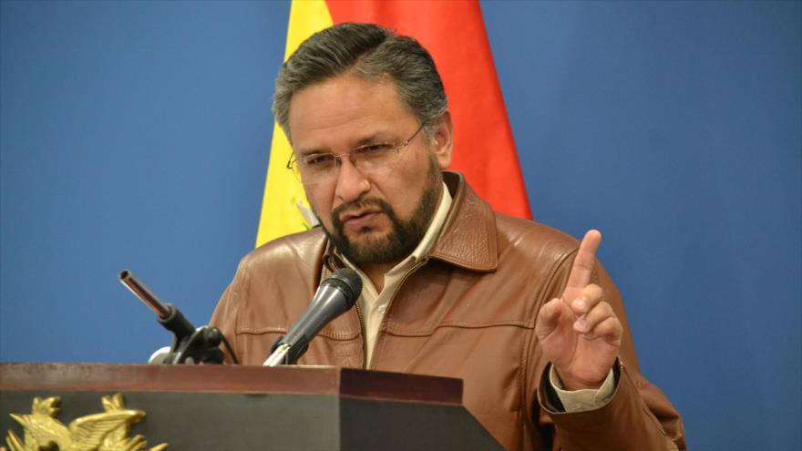 El ministro de la Presidencia de Bolivia, Alfredo Rada, en una rueda de prensa en La Paz (capital política de Bolivia), 17 de diciembre de 2018. (Foto: ABI)