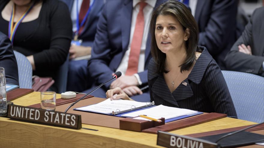 La embajadora de EE.UU. ante la ONU en una reunión del Consejo de Seguridad de Naciones Unidas, 18 de diciembre de 2018. (Foto: un.org)