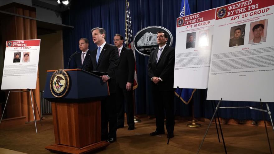 Director del FBI, Christopher Wray, detalla cargos de espionaje contra ciudadanos chinos, Washington D.C., EE.UU., 20 de diciembre de 2018. (Foto: AFP)