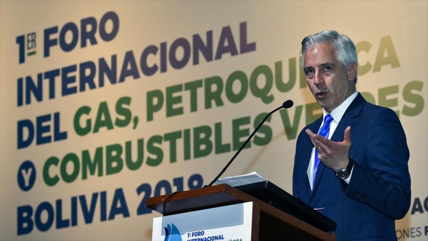 El vicepresidente de Bolivia, Álvaro García Linera, pronuncia un discurso en Santa Cruz (Bolivia), 31 de agosto de 2018. (Foto: AFP)