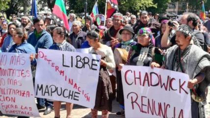 Manifestantes en Chile piden justicia para el mapuche asesinado