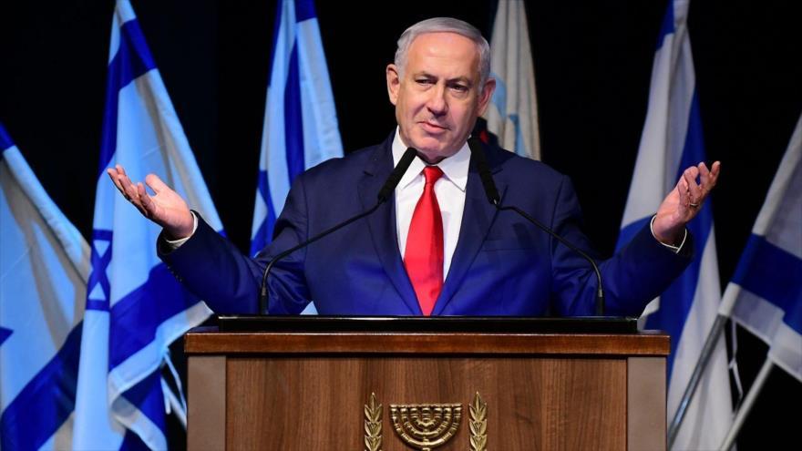 El primer ministro israelí, Benjamín Netanyahu, habla en un evento con soldados cristianos en el Museo Palmach, en Tel Aviv, 23 de diciembre de 2018.