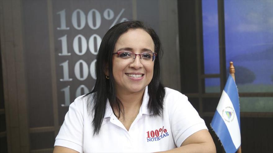 Directora de prensa de la clausurada cadena de televisión 100% Noticias de Nicaragua, Lucia Pineda