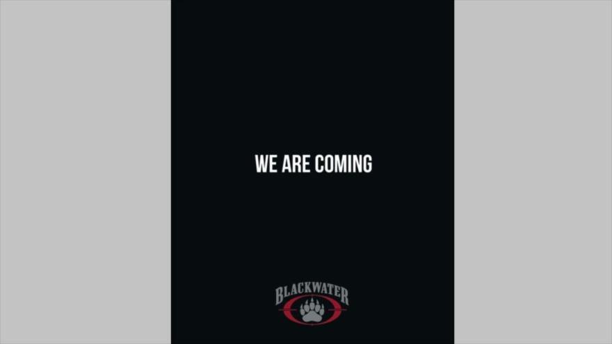 """La página de anuncio publicada por Blackwater en la que se lee: """"Estamos llegando""""."""