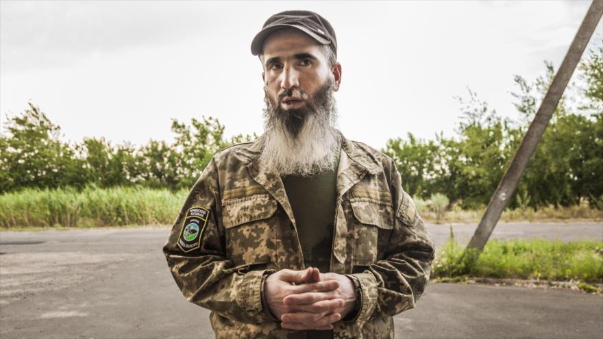 El líder del batallón mercenario checheno Sheij Mansur, Muslim Cheberloevski.