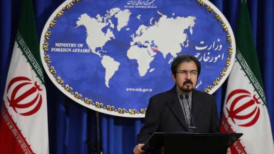 El portavoz de la Cancillería iraní, Bahram Qasemi, ofrece una rueda de prensa en Teherán, capital. (Foto: IRNA)