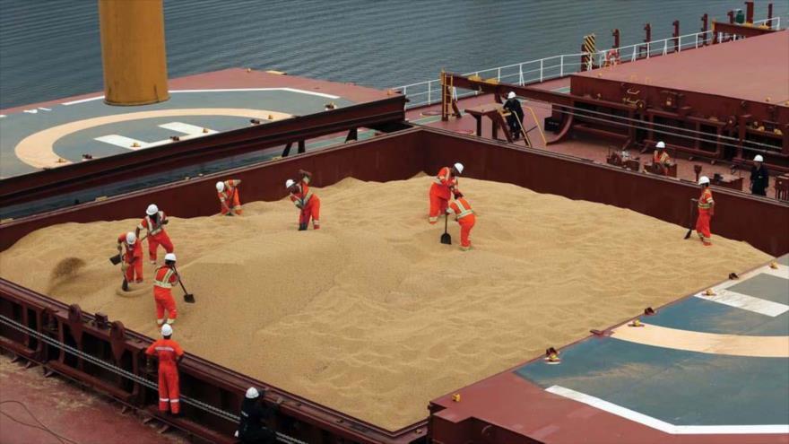 Descargan una carga de soja en un buque de carga chino en el puerto brasileño de Santos. (Foto: Reuters)