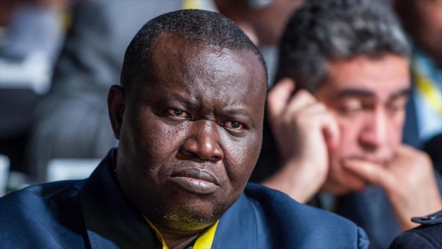 Jefe de Federación Centroafricana de Fútbol, Patrice-Edouard Ngaissona, en asamblea de la Confederación del Fútbol Africano, Casablanca, Marruecos, 2 de febrero de 2018. (Foto: AFP)