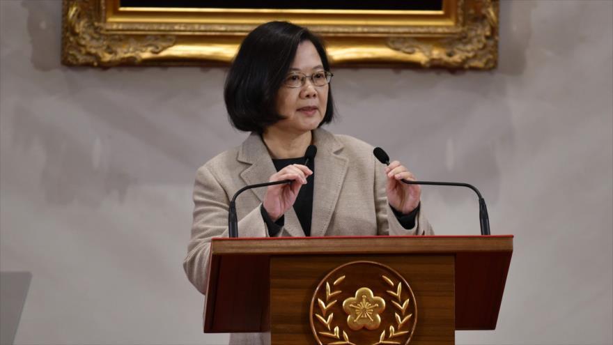 Presidenta de Taiwán, Tsai, Ing-wen, en conferencia de prensa en la oficina presidencial taiwanesa, Taipéi, 1 de enero de 2019. (Foto: AFP)