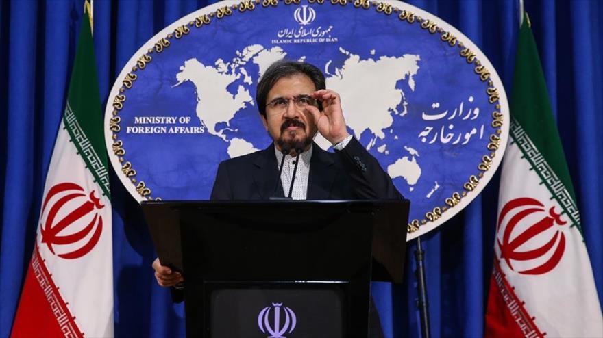 El portavoz de la Cancillería iraní, Bahram Qasemi, habla en una rueda de prensa en Teherán, la capital, 31 de diciembre de 2018. (Foto: FARS)